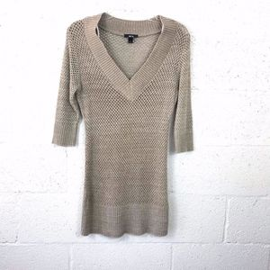 BCX Open Knit Crochet Sweatdress Tunic 3/4 Sleeve